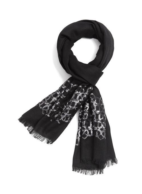 Foulard pashmina à sequins brodés, Noir, hi-res