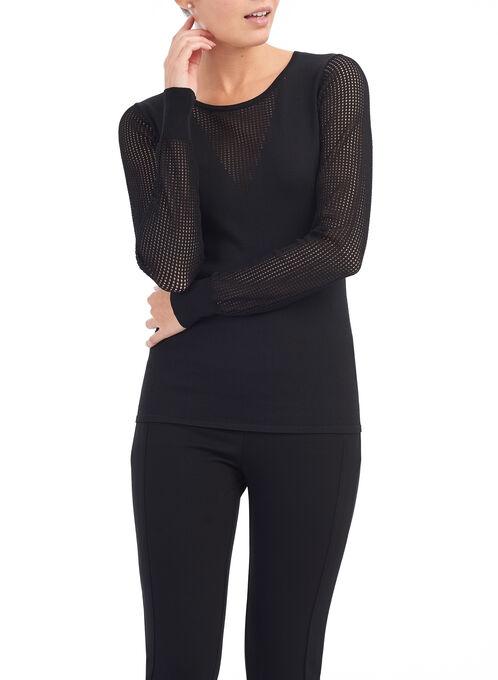 Scoop Neck Illusion Sweater , Black, hi-res