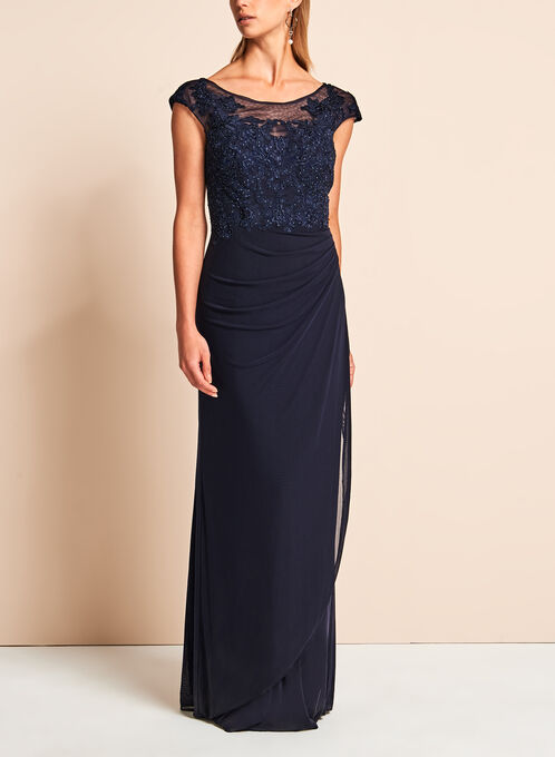 Decode 1.8 - Beaded Embroidered Mesh Gown, Blue, hi-res