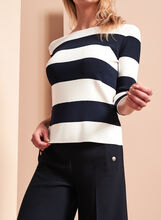 3/4 Sleeve Stripe Print Sweater, , hi-res