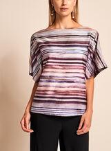 Kimono Sleeve Stripe Print Top, , hi-res