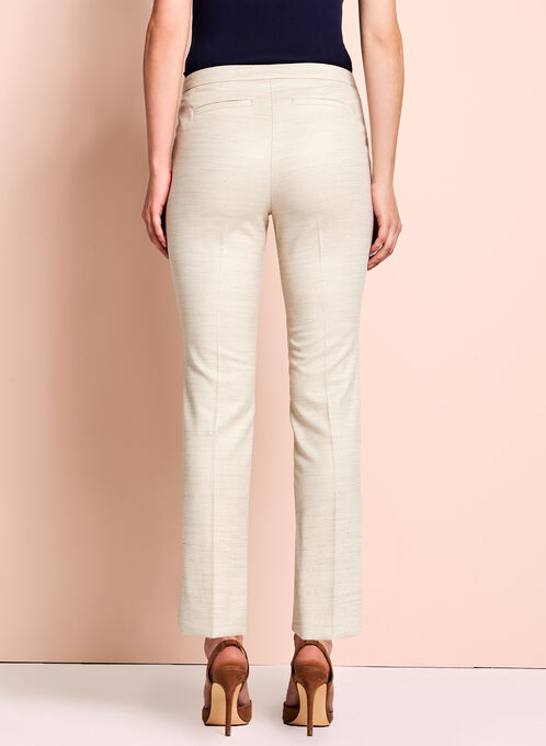 Linen Blend Slim Leg Pants, Off White, hi-res
