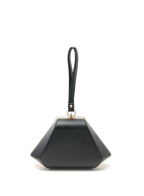 Glitter Pyramid Box Clutch, Black, hi-res