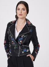 Frank Lyman - Studded Embroidered Faux Leather Jacket, , hi-res