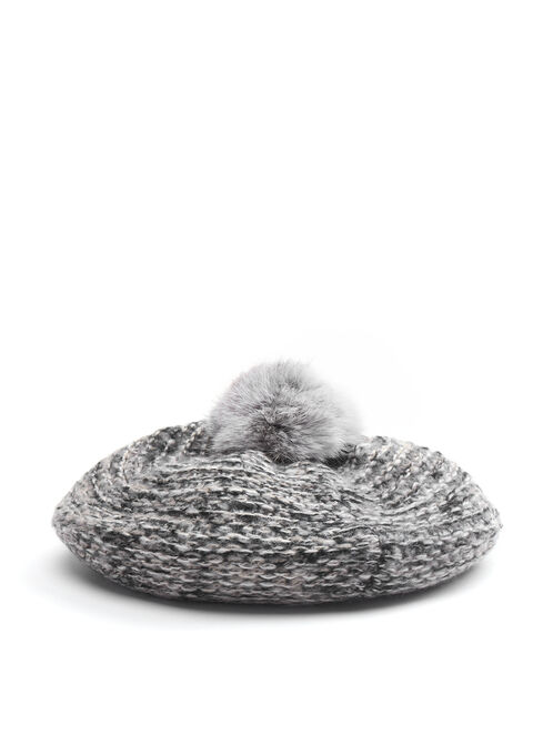 Knit & Fur Pompom Beret, Black, hi-res