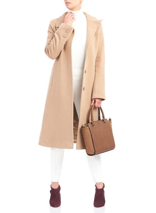 Mallia Wool Blend Coat , Brown, hi-res