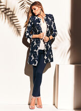 Collarless Printed Jacquard Coat, Blue, hi-res