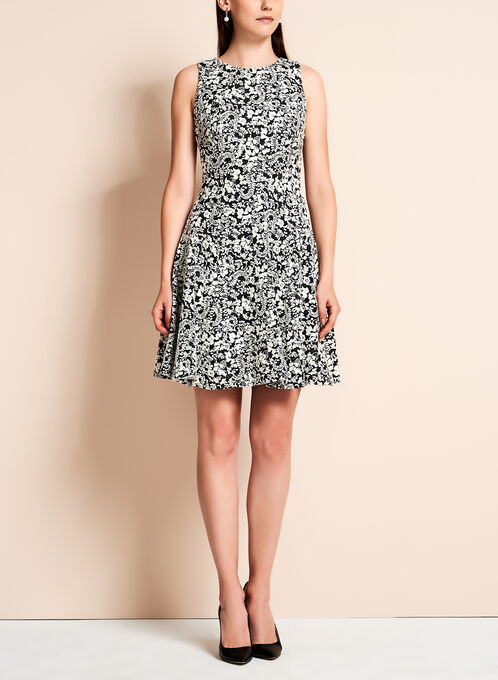 Ivanka Trump - Abstract Floral Fit & Flare Dress, Black, hi-res