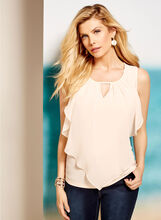 Sleevless Ruffle Front Keyhole Top, , hi-res
