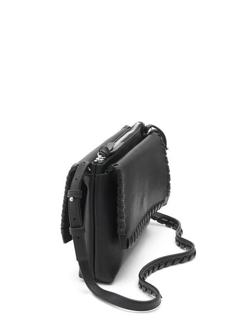 Whipstitch Foldover Crossbody Bag, Black, hi-res