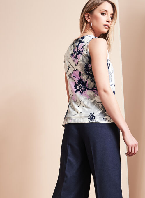 Sleeveless Floral Print Top, Purple, hi-res
