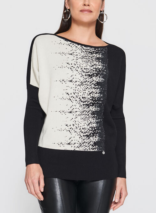 Vex - Speckle Print Dolman Sleeve Sweater, Black, hi-res