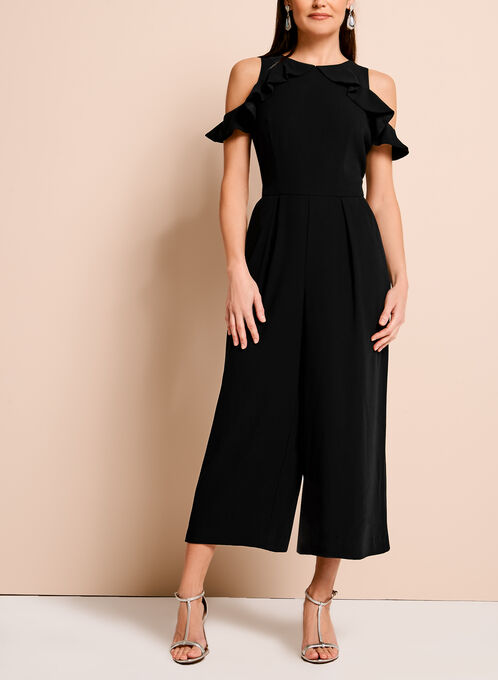 Ruffle Front Cold Shoulder Jumpsuit, Black, hi-res