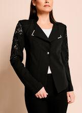 Crepe Lace Trim One-Button Blazer, , hi-res