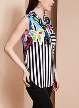 Frank Lyman Floral & Stripe Print Top, Black, hi-res