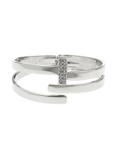 Bracelet métallisé ajouré à charnière et strass, Argent, hi-res