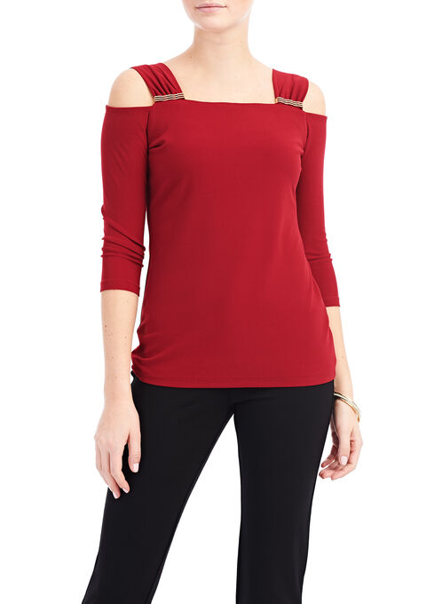 Cold Shoulder Jewel Trim Top, Red, hi-res