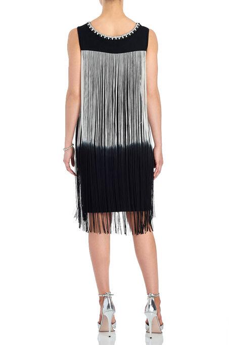 Frank Lyman Jewelled Fringe Dress, Black, hi-res