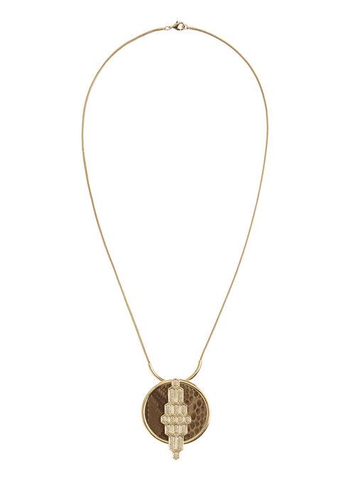 Python Print Pendant Necklace, Off White, hi-res