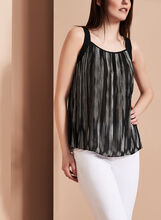 Two-Tone Pleated Blouse, Black, hi-res