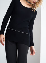 Ribbed Asymmetrical Knit Sweater, Black, hi-res