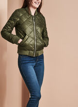 French Connection Quilted Bomber Coat, Green, hi-res