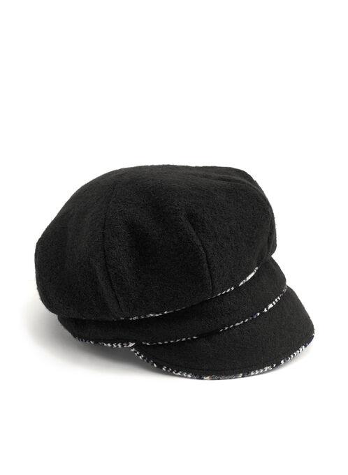 Wool Blend Pageboy Hat , Black, hi-res