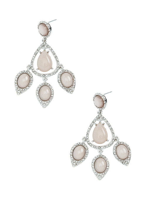Open Teardrop Crystal & Stone Earrings, Off White, hi-res
