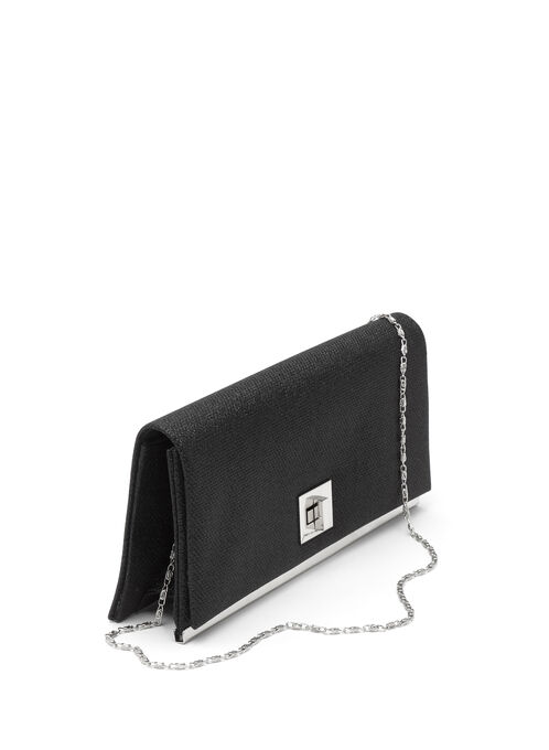 Glitter Turn Lock Evening Clutch, Black, hi-res