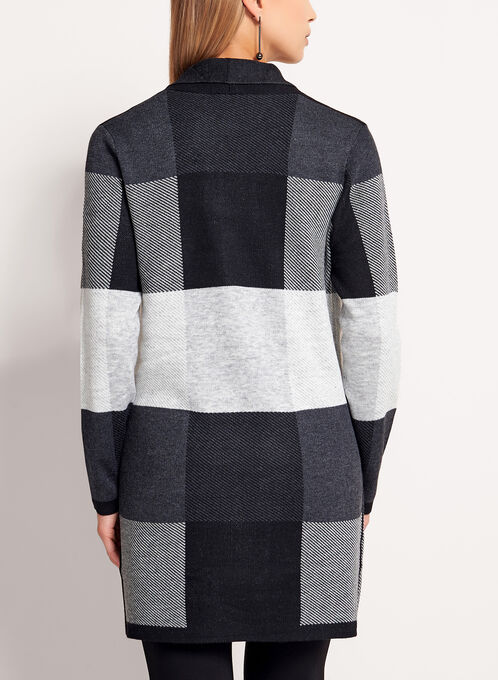 Checkered Knit Shawl Cardigan, Black, hi-res