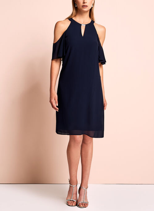 Vince Camuto Cold Shoulder Dress, Blue, hi-res