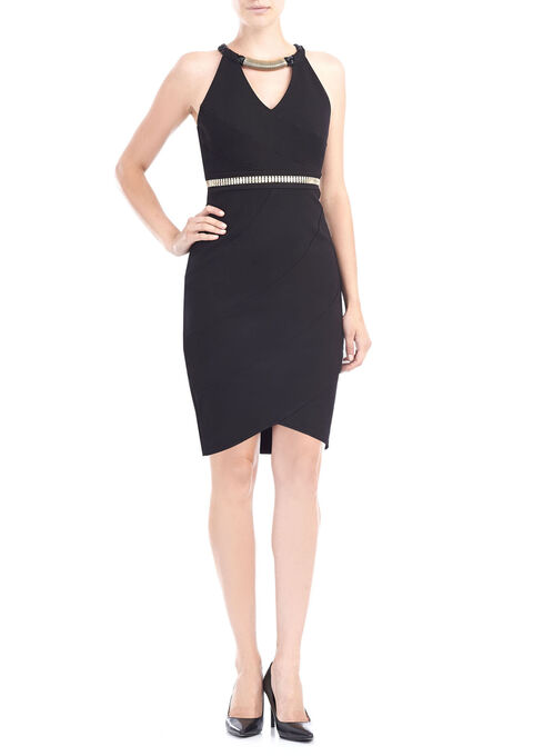 Jax Asymmetrical Chained Neckline Dress, Black, hi-res