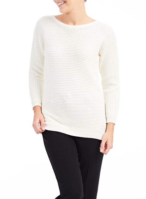 Ribbed Boat Neck Sweater, Off White, hi-res