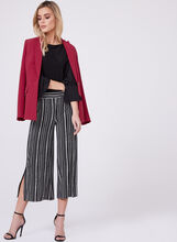 Wide Leg Stripe Print Culottes, Black, hi-res
