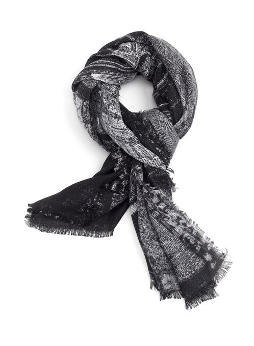 Train Print Fringed Scarf, Black, hi-res
