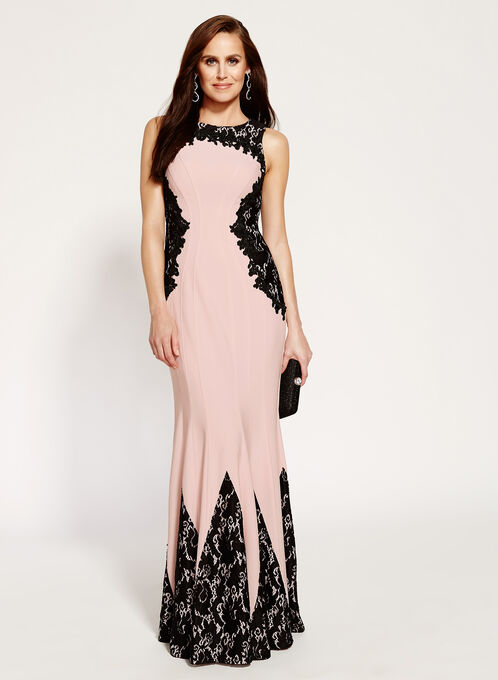 Floral Lace Jersey Gown , Black, hi-res