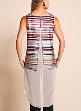 High-Low Stripe Print Blouse, Red, hi-res