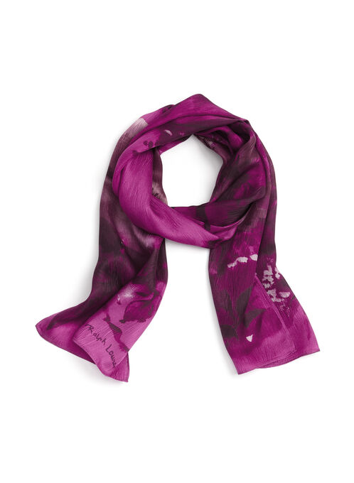 Blurred Floral Print Scarf, Pink, hi-res