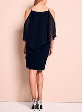 Crystal Embellished Cold Shoulder Poncho Dress, Blue, hi-res