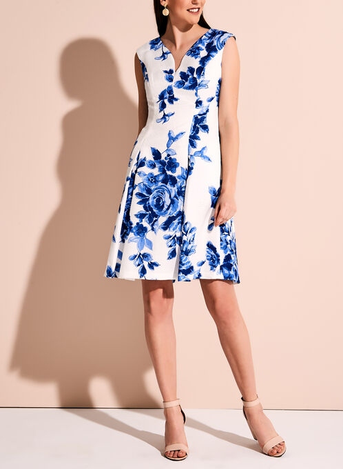Floral Print Jacquard Fit & Flare Dress, Blue, hi-res