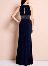 Beaded Waist Jersey Halter Neck Gown, Blue, hi-res