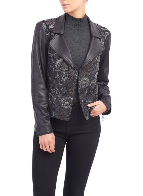 Vex Faux Moto-Style Jacket, Black, hi-res