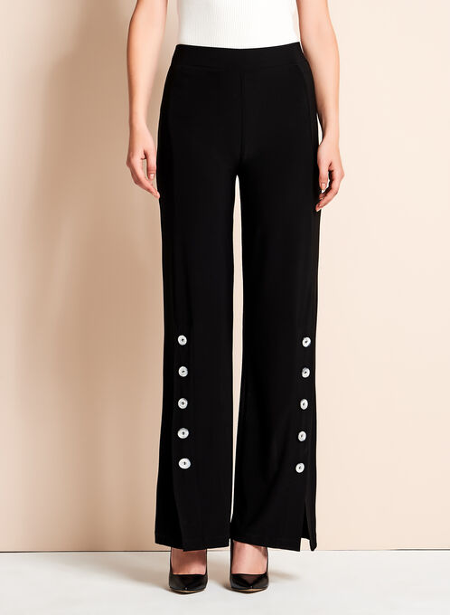 Frank Lyman Wide Leg Button Detail Pants, Black, hi-res