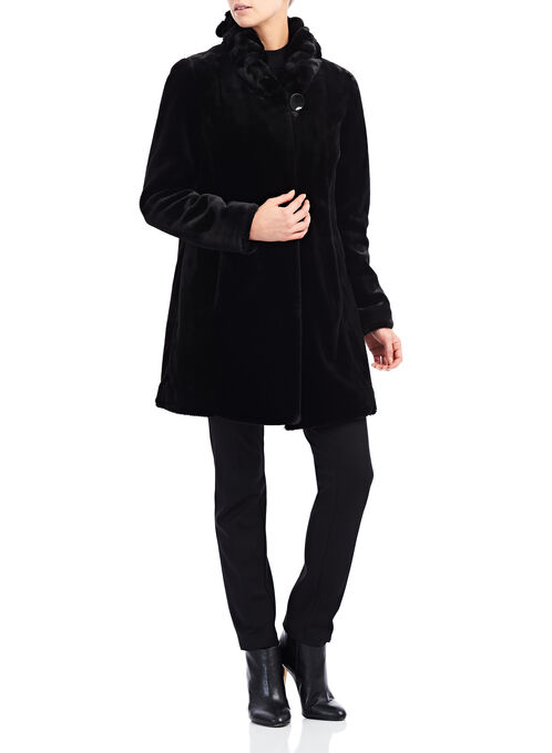 Nuage Faux Fur Coat, Black, hi-res