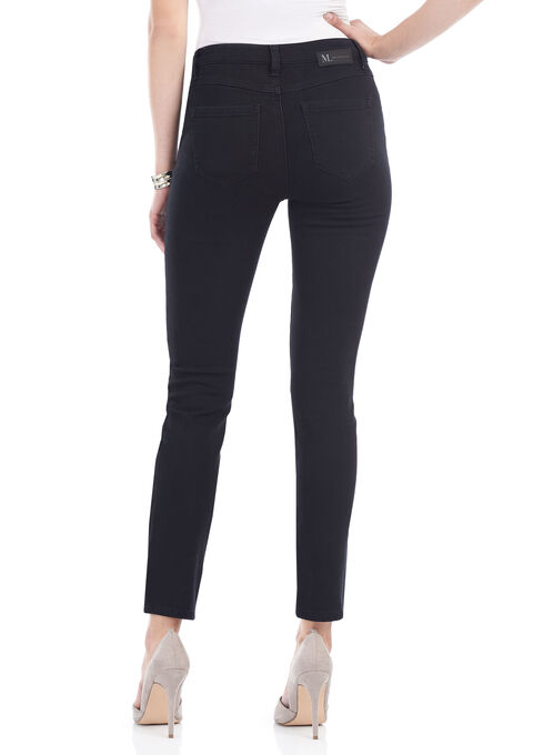 Tummy Control Slim Leg Denim Pants , Black, hi-res