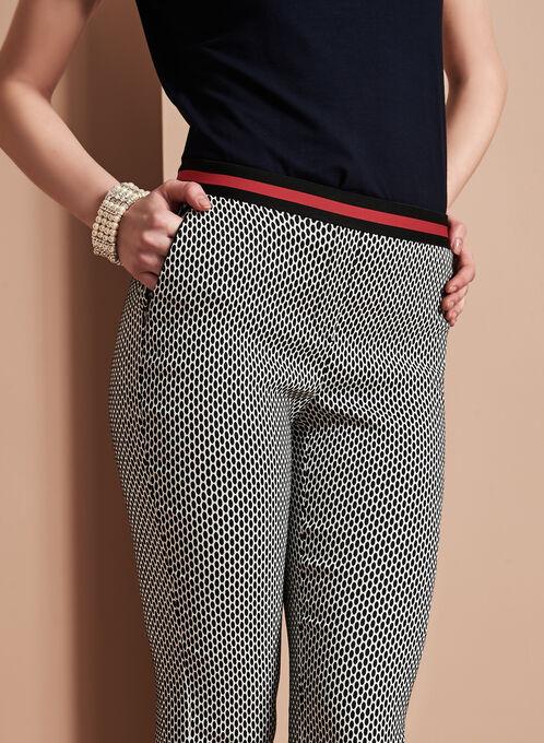 Slim Leg Jacquard Pants, Black, hi-res