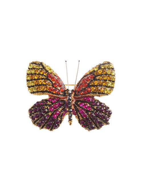 Crystal Butterfly Brooch, Multi, hi-res