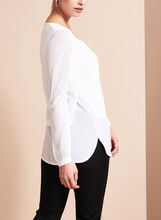 Double Layer Pointelle Knit Sweater, White, hi-res
