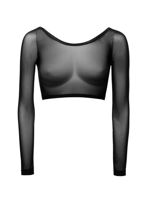 Long Sleeve Mesh Bolero, Black, hi-res