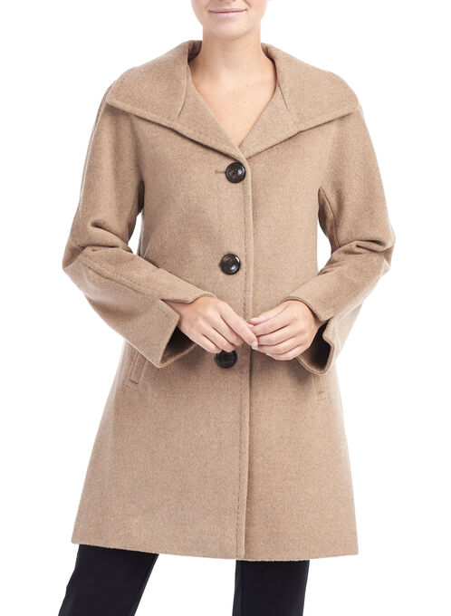 Wool & Angora Coat , Brown, hi-res